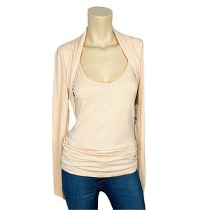 W by WORTH Top M Shell Pink Long Sleeve Shirt